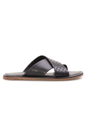 Florra Genuine Leather Men Slippers 203123 Black
