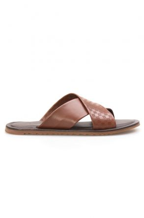 Florra Genuine Leather Men Slippers 203123 Ginger
