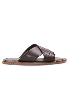 Florra Genuine Leather Men Slippers 203123 Brown