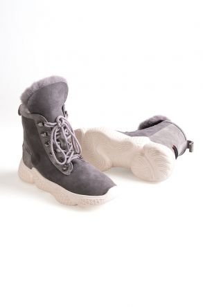 OZEL Tucino Genuine Sheepskin Laced Boots T-391005 Gray