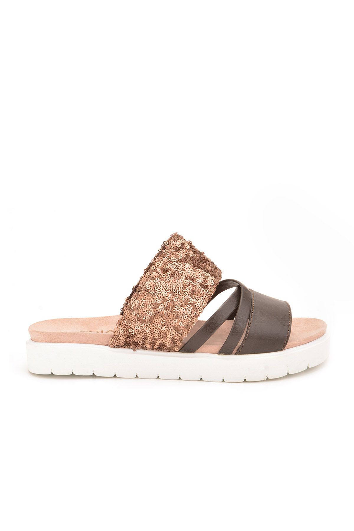 Pegia Alesia Women Slippers From Genuine Leather REC-005 Brown