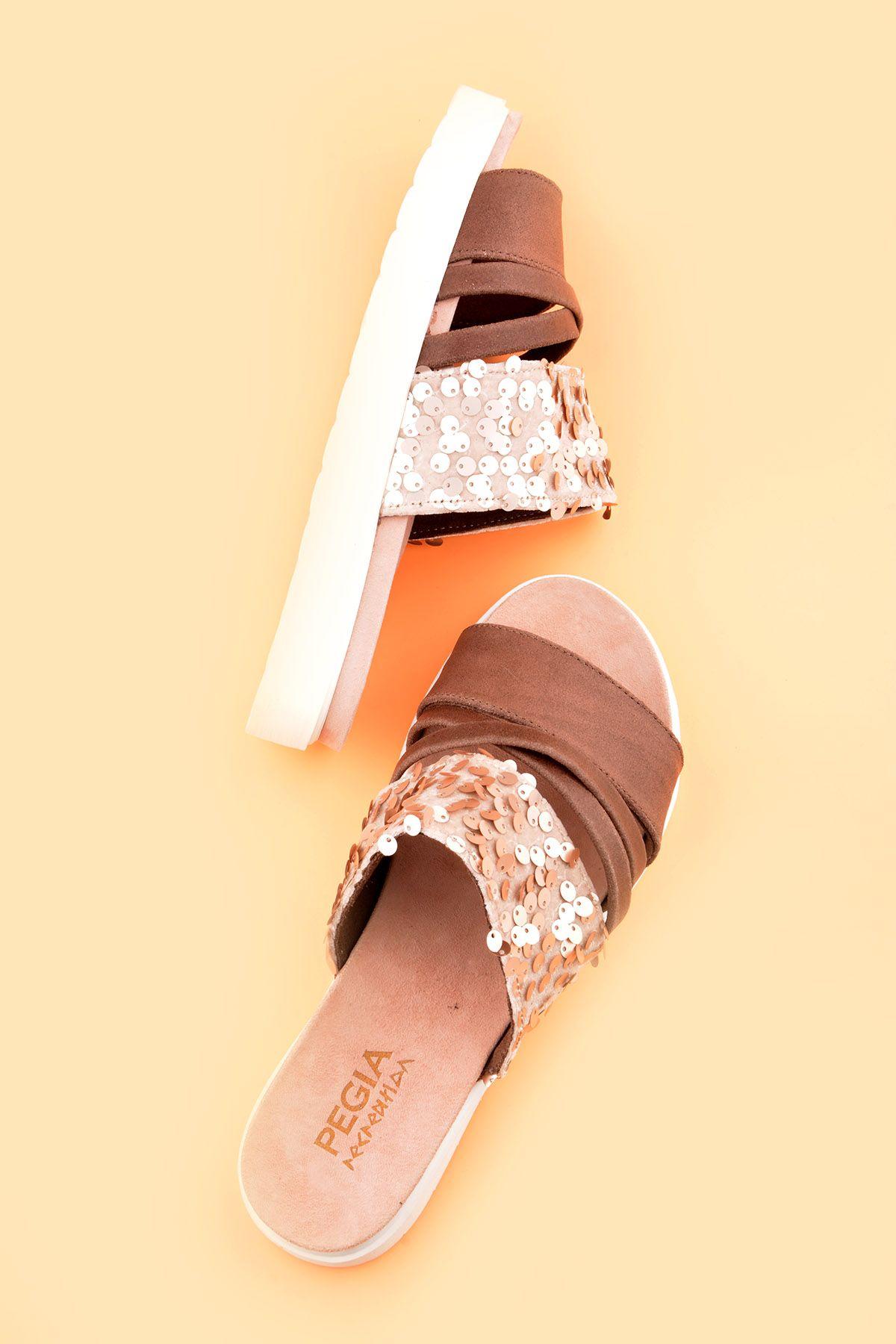 Pegia Alesia Women Slippers From Genuine Leather REC-005 Visone