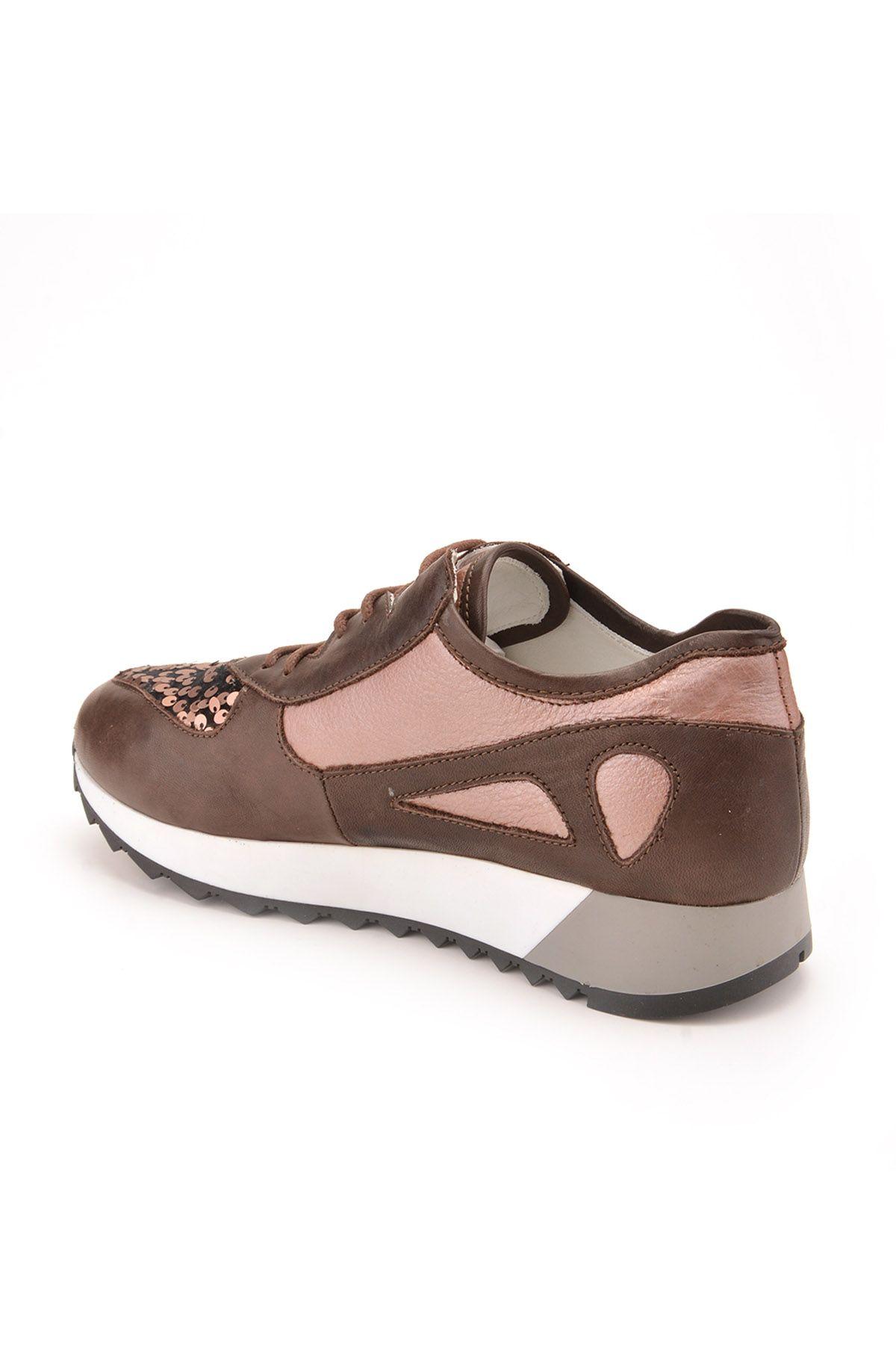 Pegia Anvers Hakiki Deri Bayan Spor Ayakkabı REC-013 Kahve