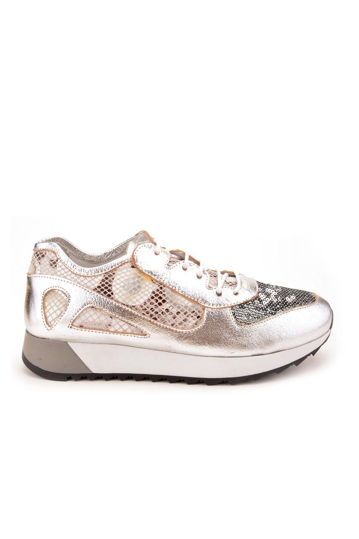 Pegia Anvers Hakiki Deri Bayan Spor Ayakkabı REC-013 Gümüş