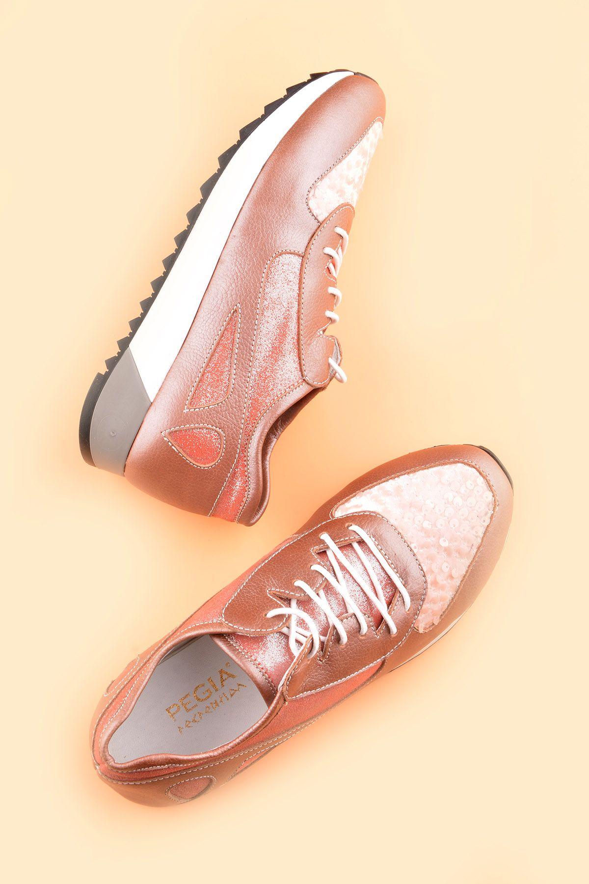 Pegia Anvers Hakiki Deri Bayan Spor Ayakkabı REC-013 Pembe