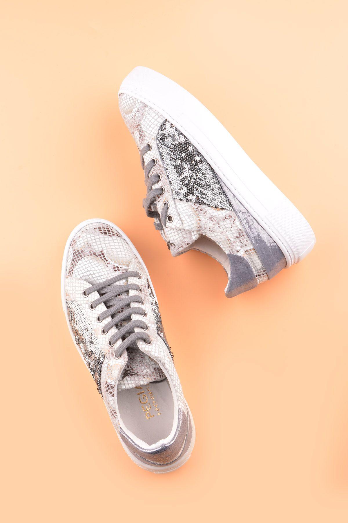 Pegia Blanche Hakiki Deri Bayan Spor Ayakkabı REC-002 Beyaz