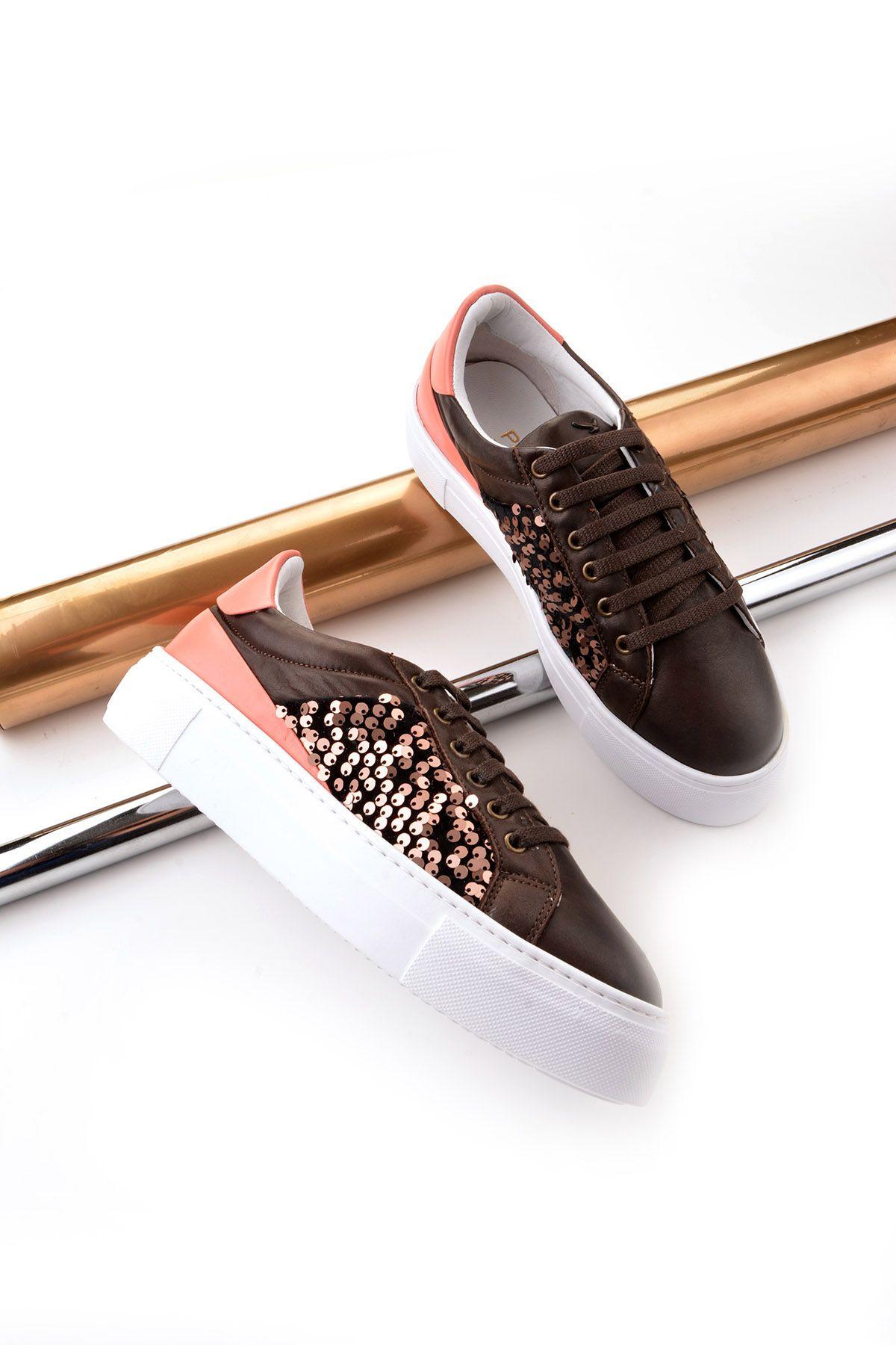 Pegia Blanche Hakiki Deri Bayan Spor Ayakkabı REC-002 Kahve