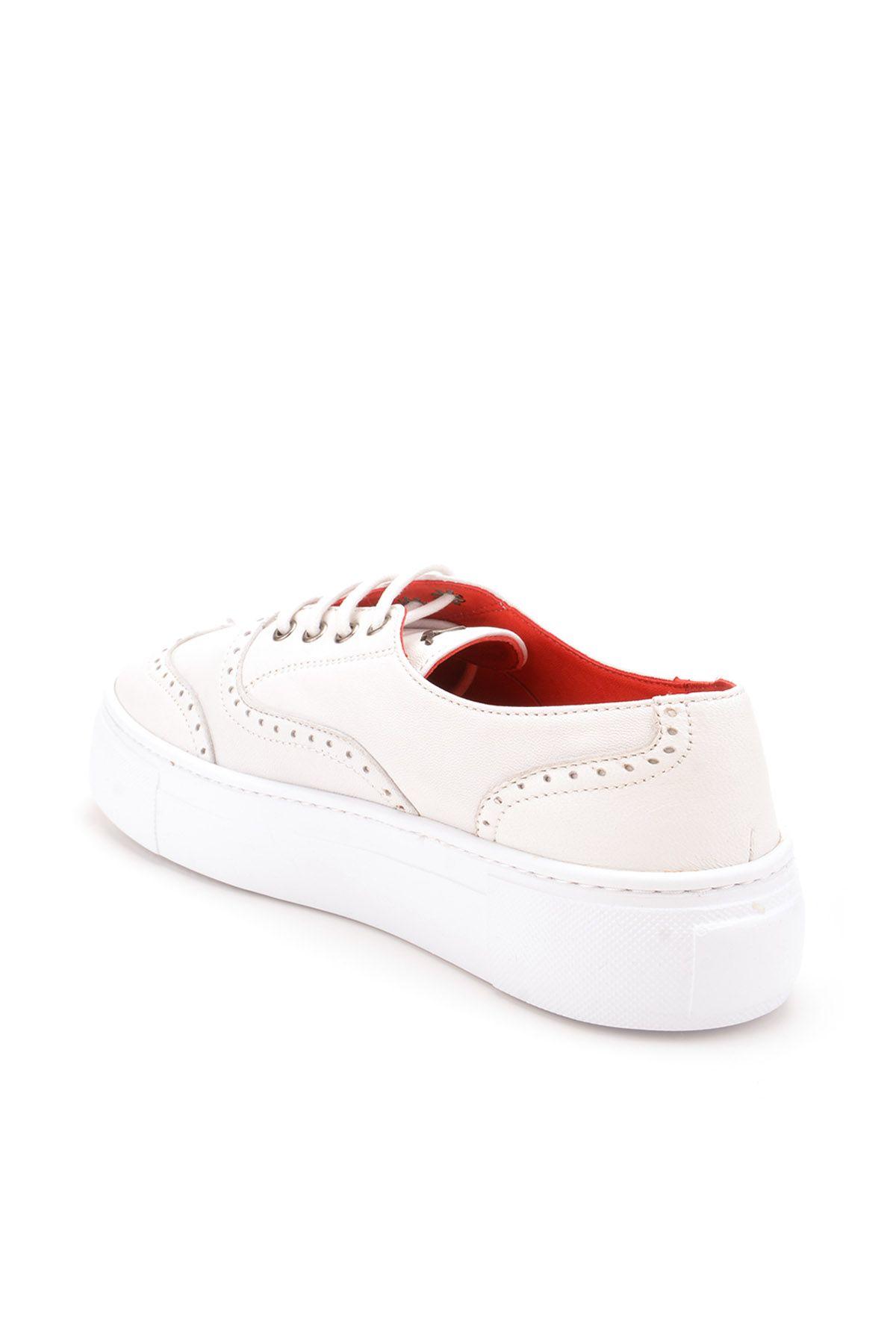 Pegia Chatalet Hakiki Deri Bayan Oxford Ayakkabı REC-014 Beyaz