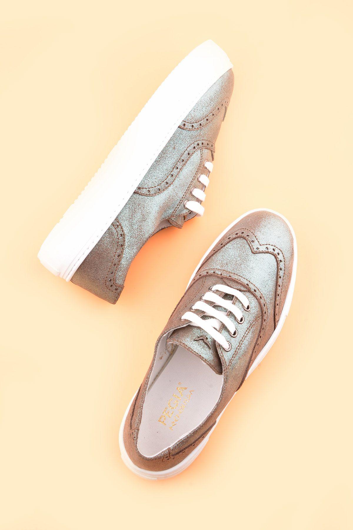 Pegia Chatalet Hakiki Deri Bayan Oxford Ayakkabı REC-014 Mint