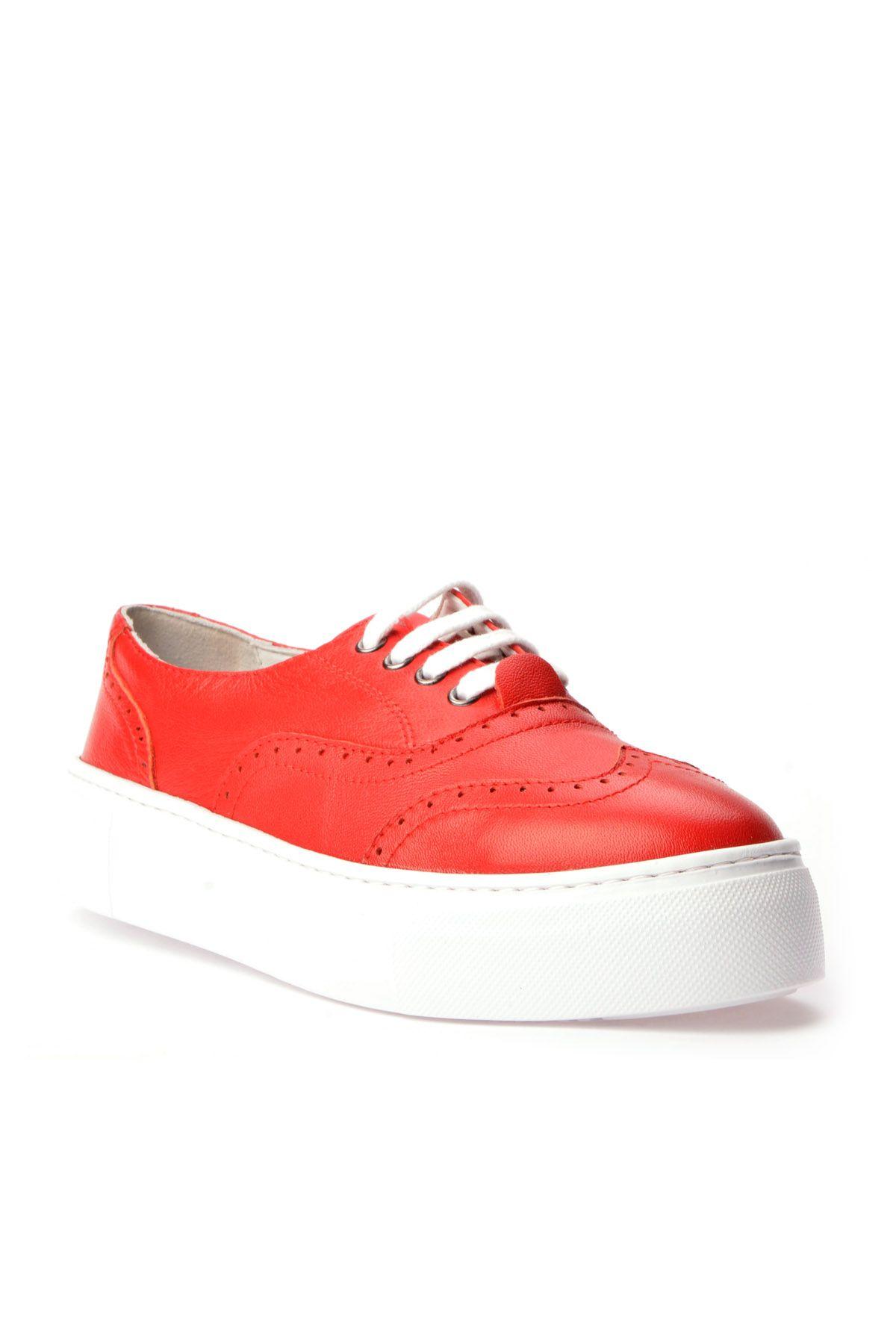 Pegia Chatalet Hakiki Deri Bayan Oxford Ayakkabı REC-014 Kırmızı