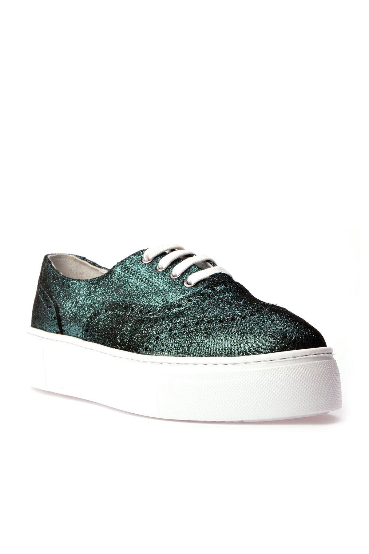 Pegia Chatalet Hakiki Deri Bayan Oxford Ayakkabı REC-014 Yeşil