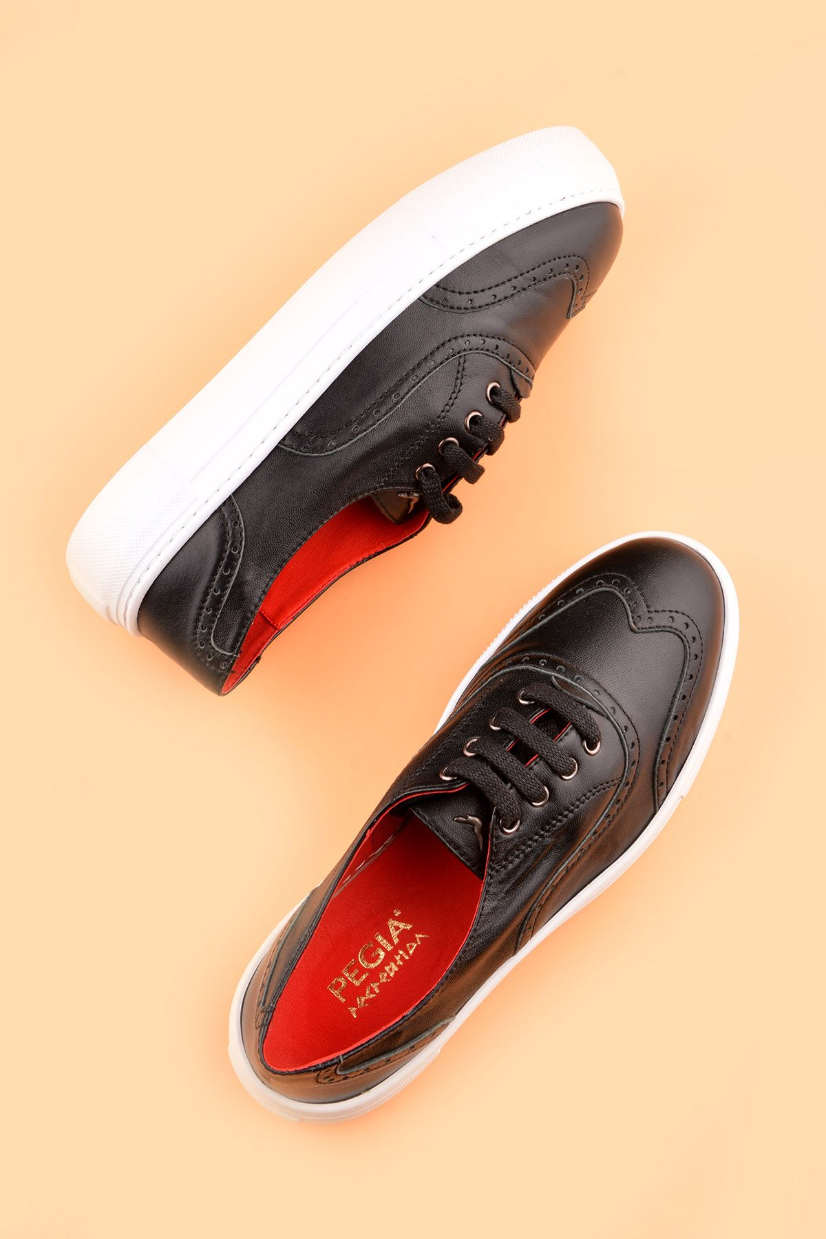 Pegia Chatalet Hakiki Deri Bayan Oxford Ayakkabı REC-014 Siyah