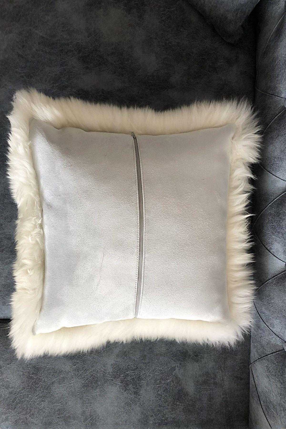 Pegia Decorative Sheepskin Pillow NTR100 White