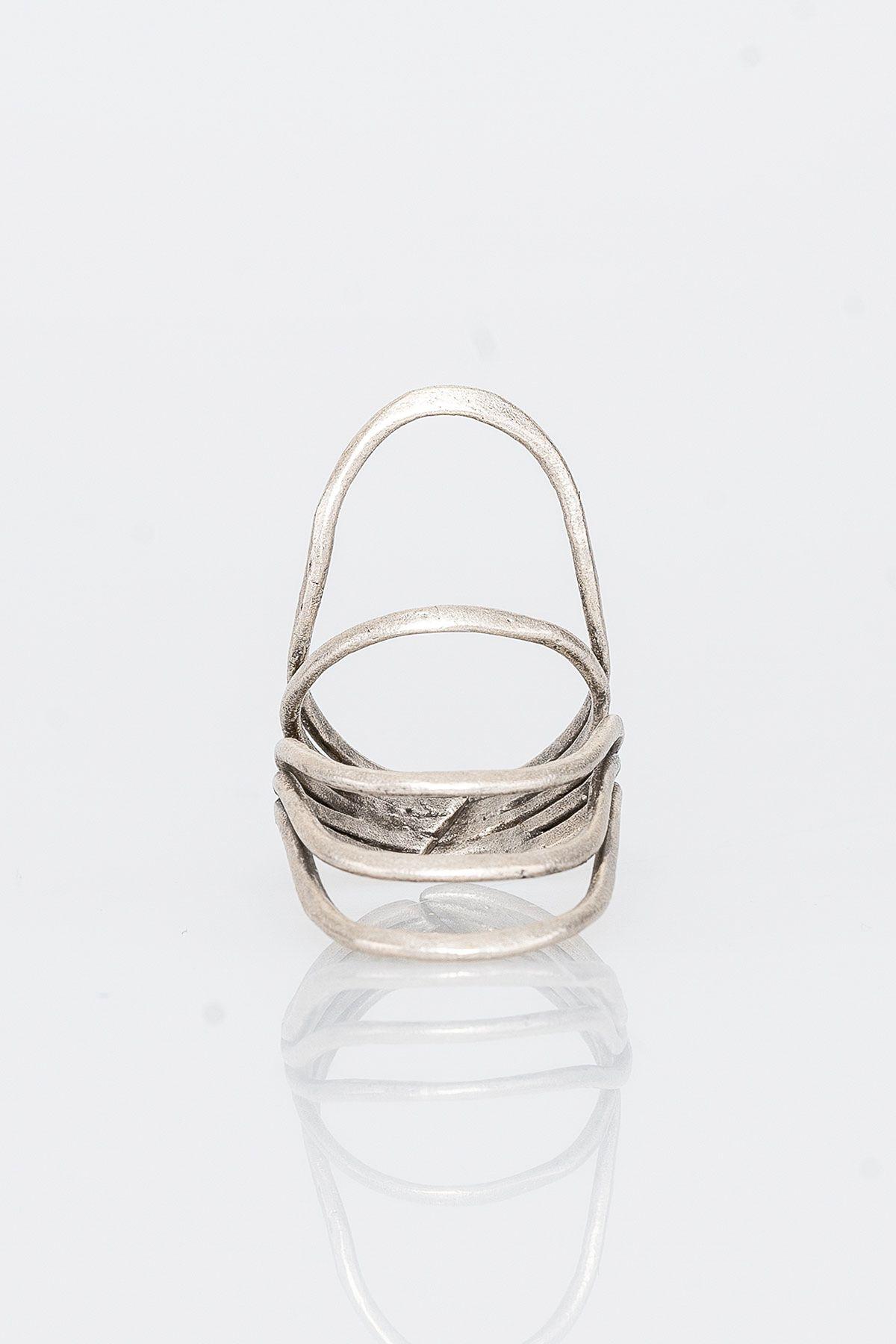 Pegia Deri Çantalı Vintage Tasarım Yüzük 19YZ03 Gümüş