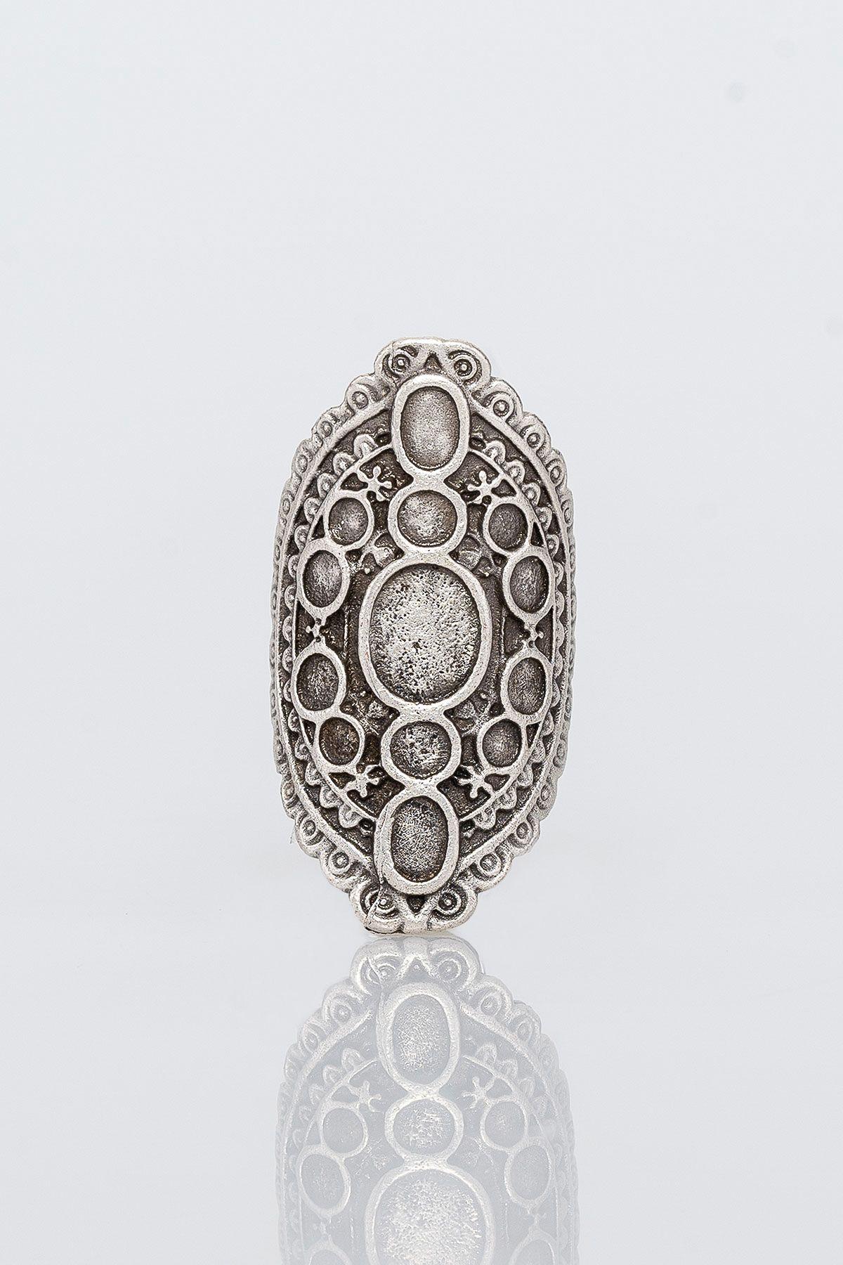 Pegia Deri Çantalı Vintage Tasarım Yüzük 19YZ06 Gümüş