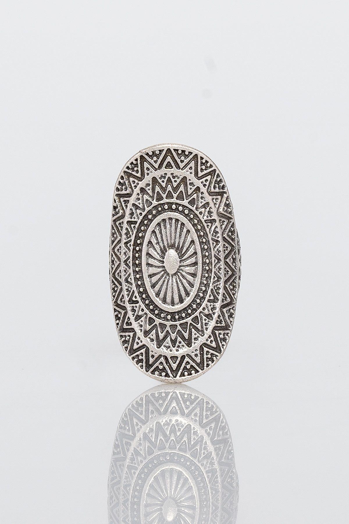 Pegia Deri Çantalı Vintage Tasarım Yüzük 19YZ07 Gümüş