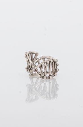 Pegia Deri Çantalı Vintage Tasarım Yüzük 19YZ11 Gümüş