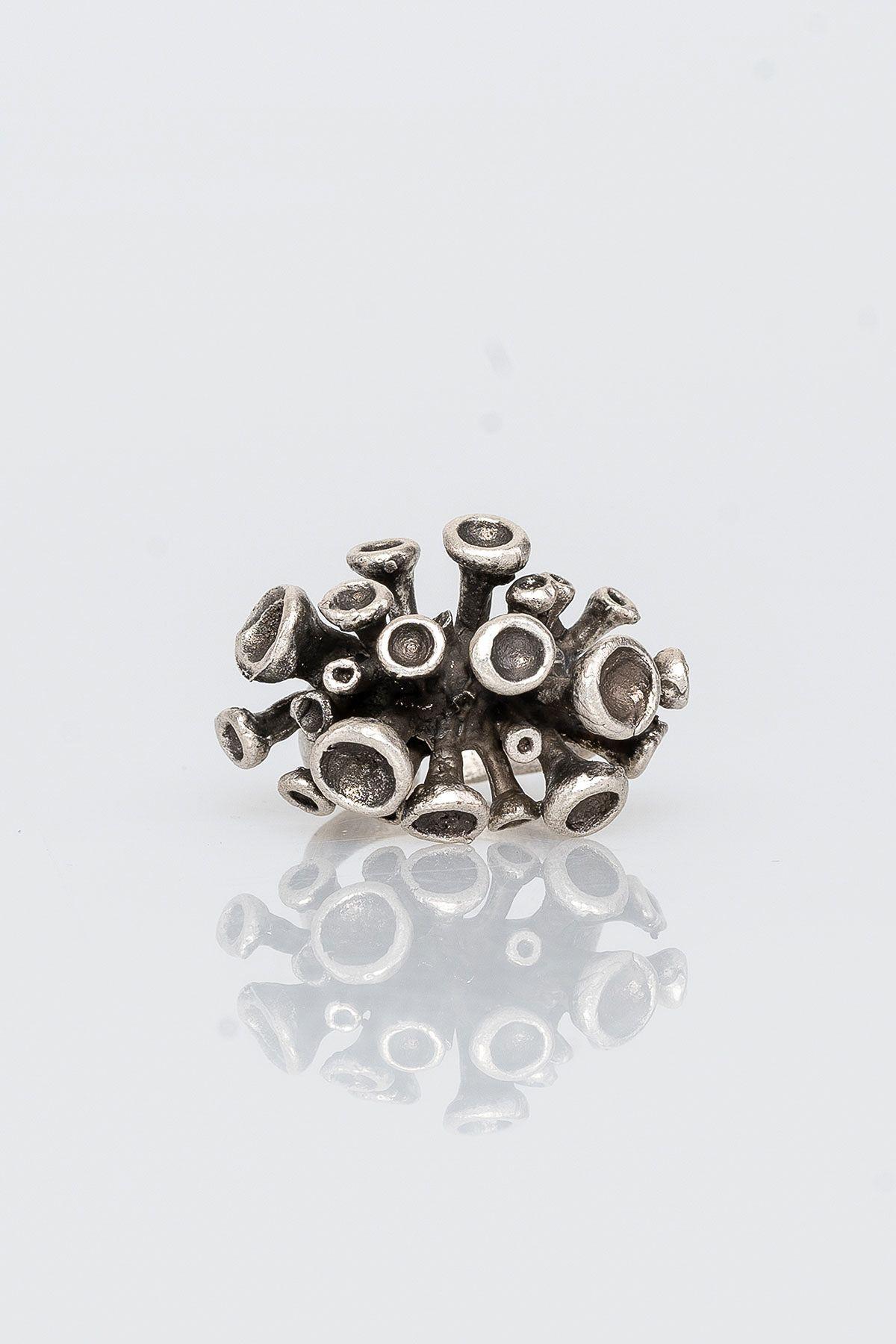 Pegia Deri Çantalı Vintage Tasarım Yüzük 19YZ12 Gümüş