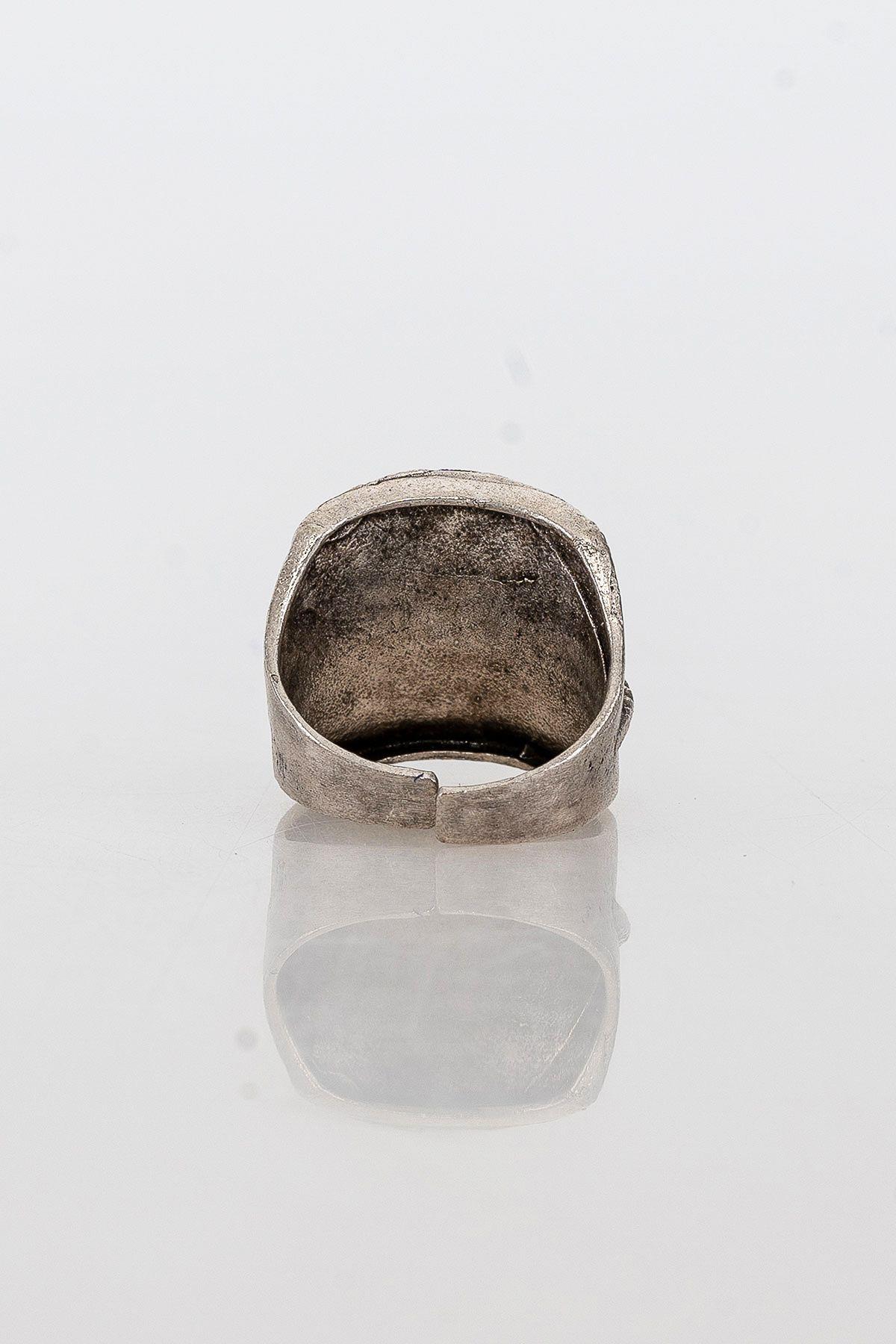 Pegia Deri Çantalı Vintage Tasarım Yüzük 19YZ13 Gümüş