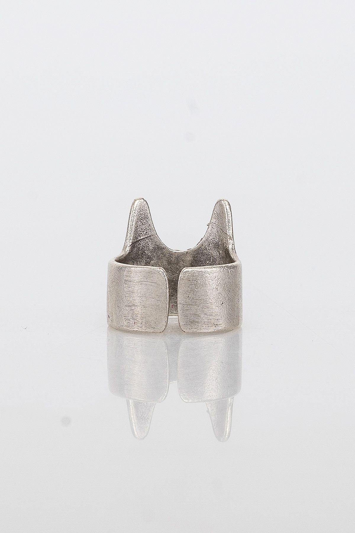 Pegia Deri Çantalı Vintage Tasarım Yüzük 19YZ15 Gümüş