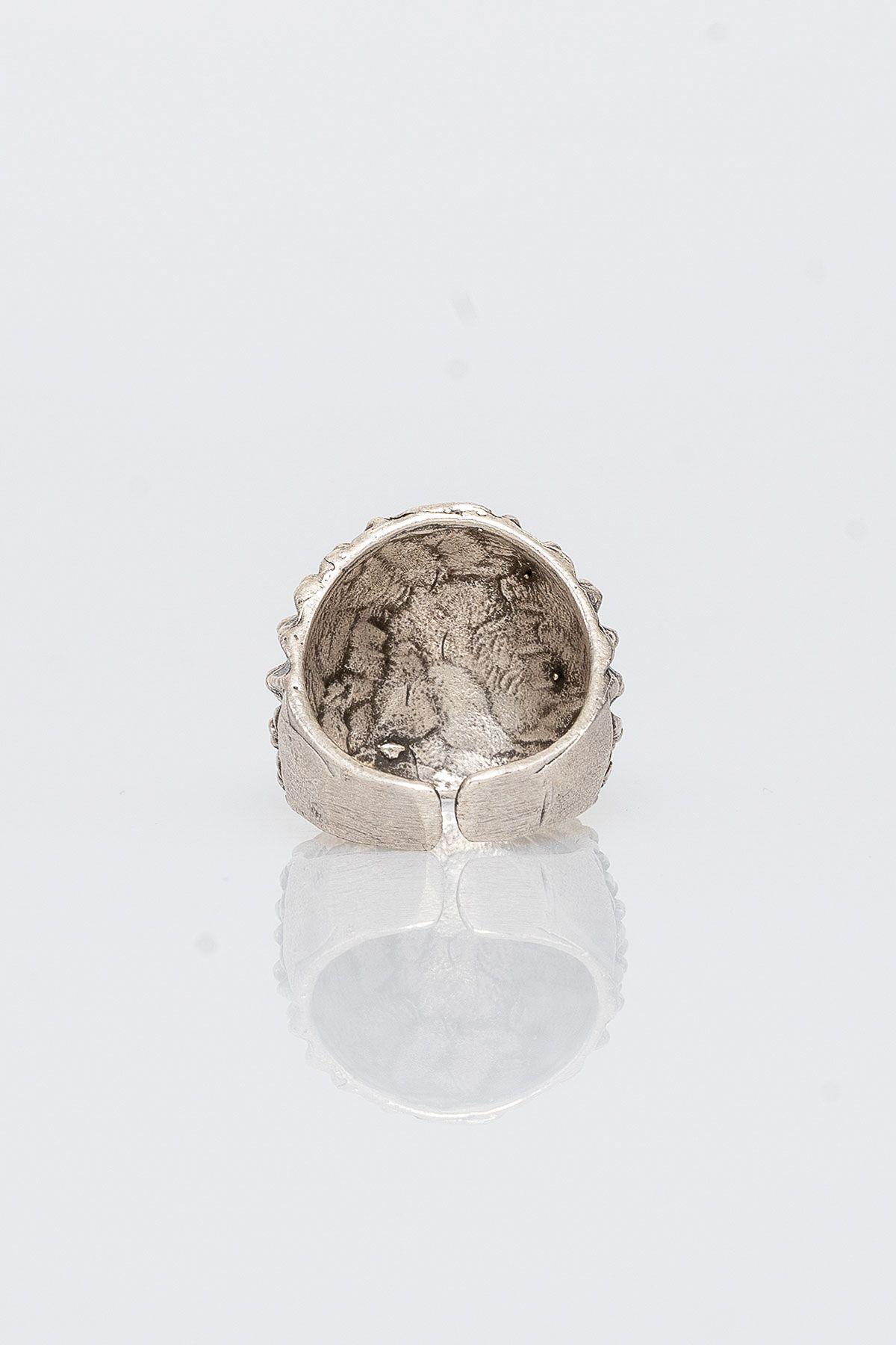Pegia Deri Çantalı Vintage Tasarım Yüzük 19YZ16 Gümüş