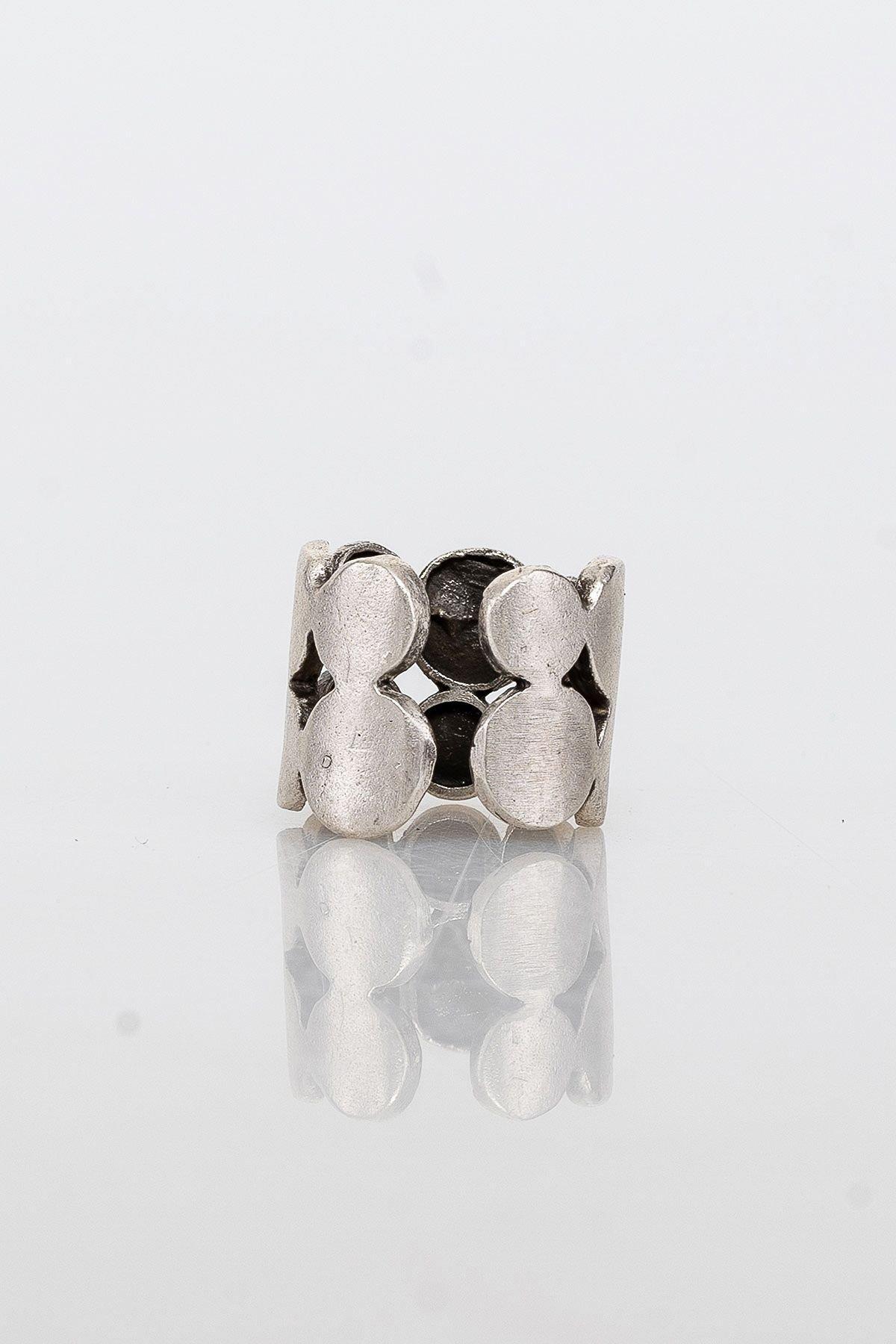 Pegia Deri Çantalı Vintage Tasarım Yüzük 19YZ17 Gümüş