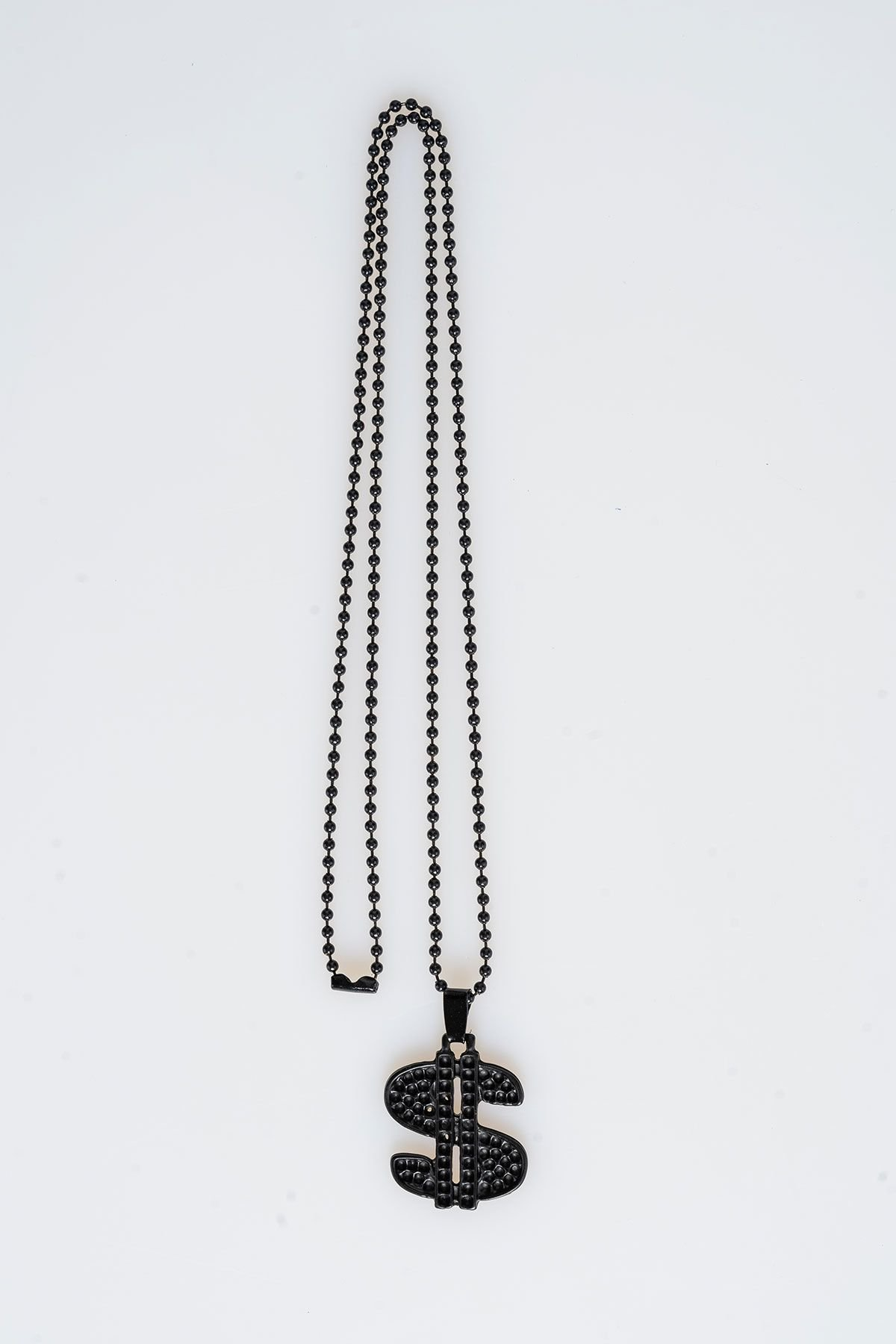 Pegia Metal Neacklace With Leather Case 19KL22 Black
