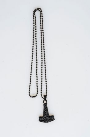 Pegia Metal Neacklace With Leather Case 19KL23 Black
