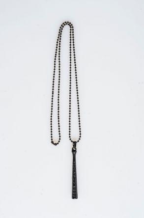 Pegia Deri Kılıflı Metal Kolye 19KL24 Siyah