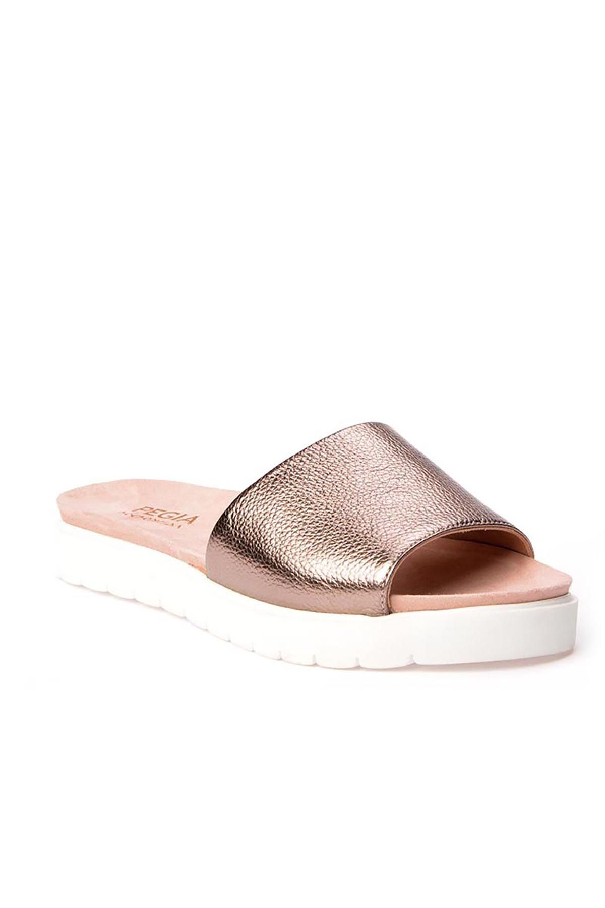 Pegia Drancy Women Slippers From Genuine Leather REC-006 Bronze