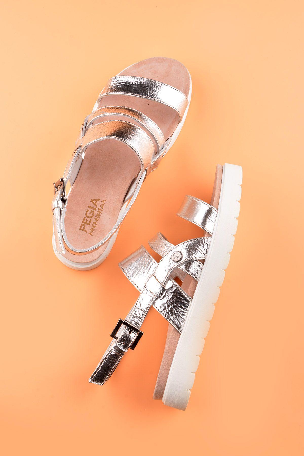 Pegia Gabrielle Hakiki Deri Bayan Sandalet REC-001 Gümüş