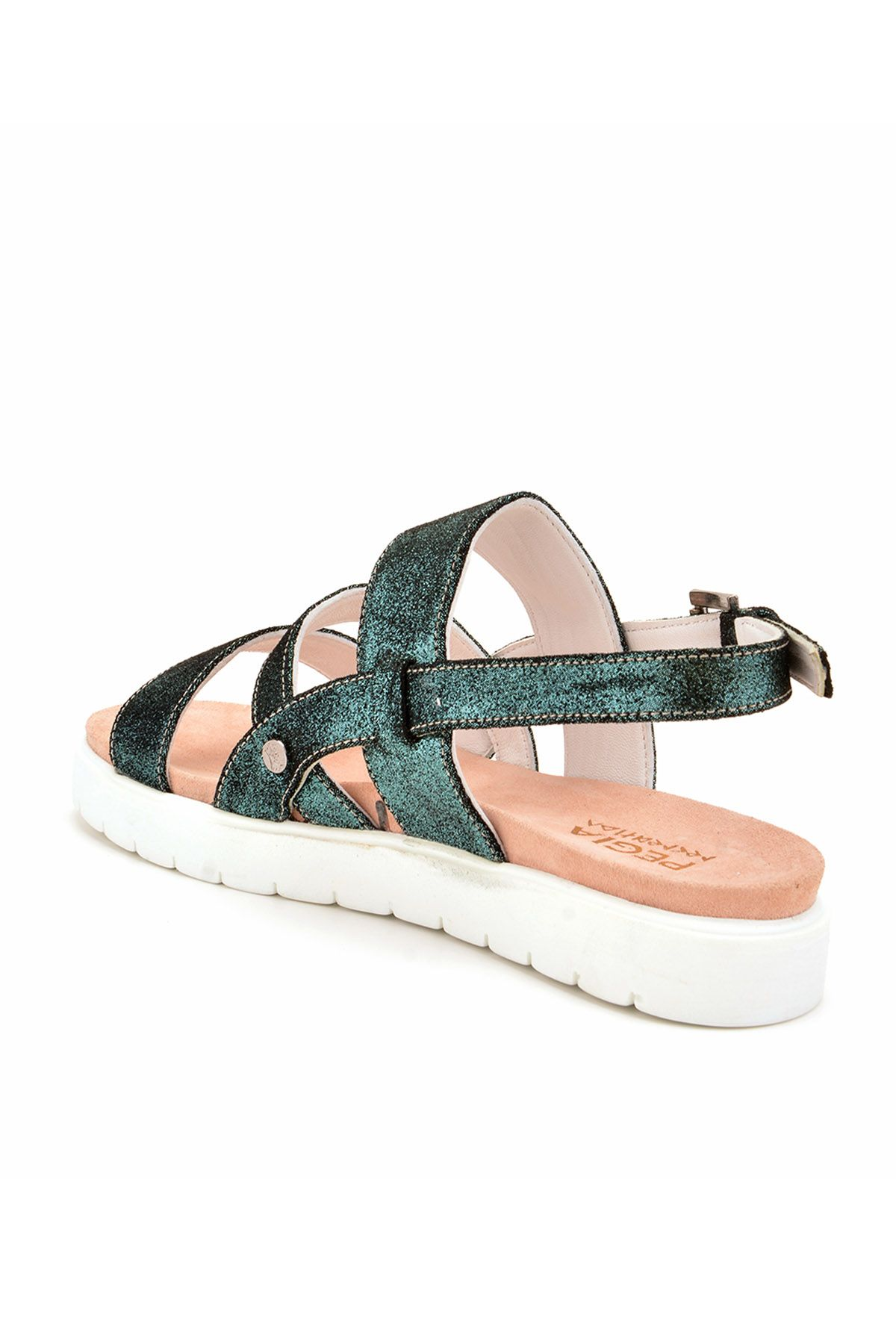 Pegia Gabrielle Hakiki Deri Bayan Sandalet REC-001 Зеленый