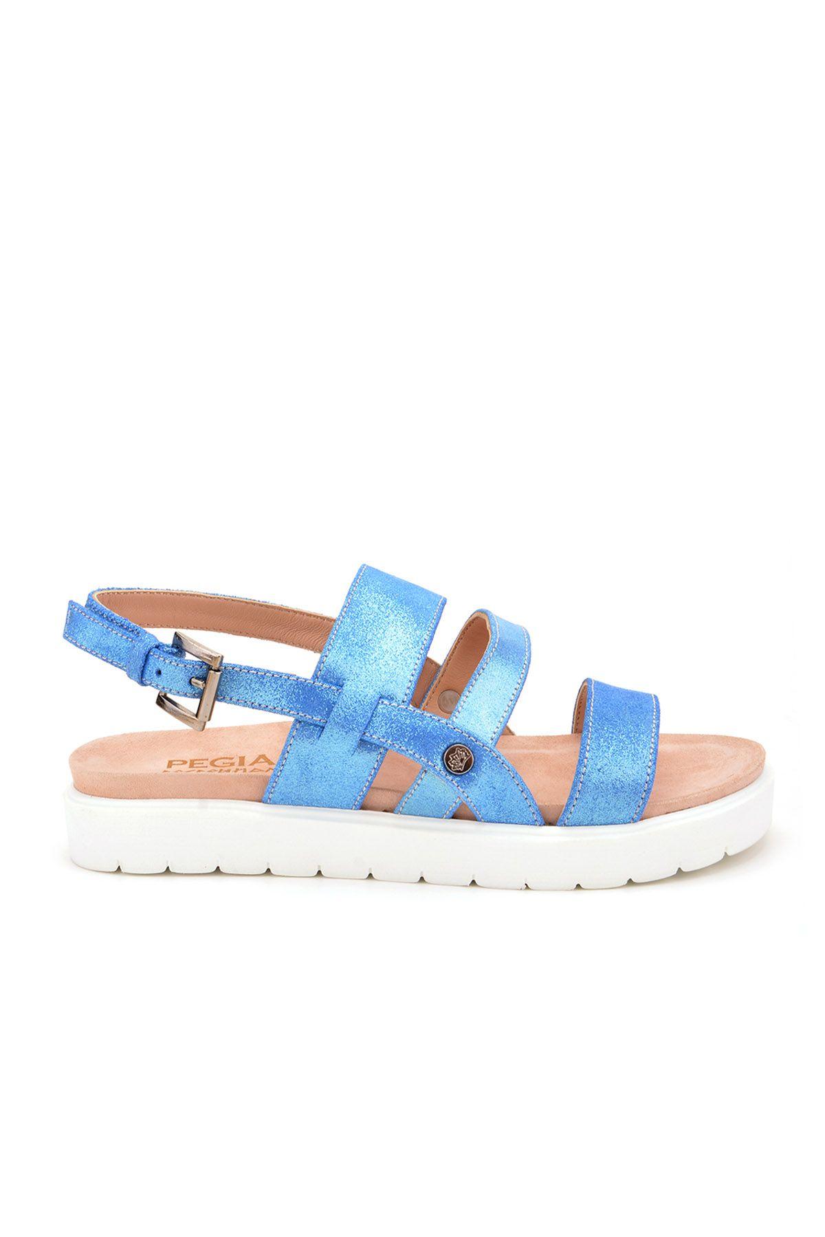 Pegia Gabrielle Hakiki Deri Bayan Sandalet REC-001 Mavi