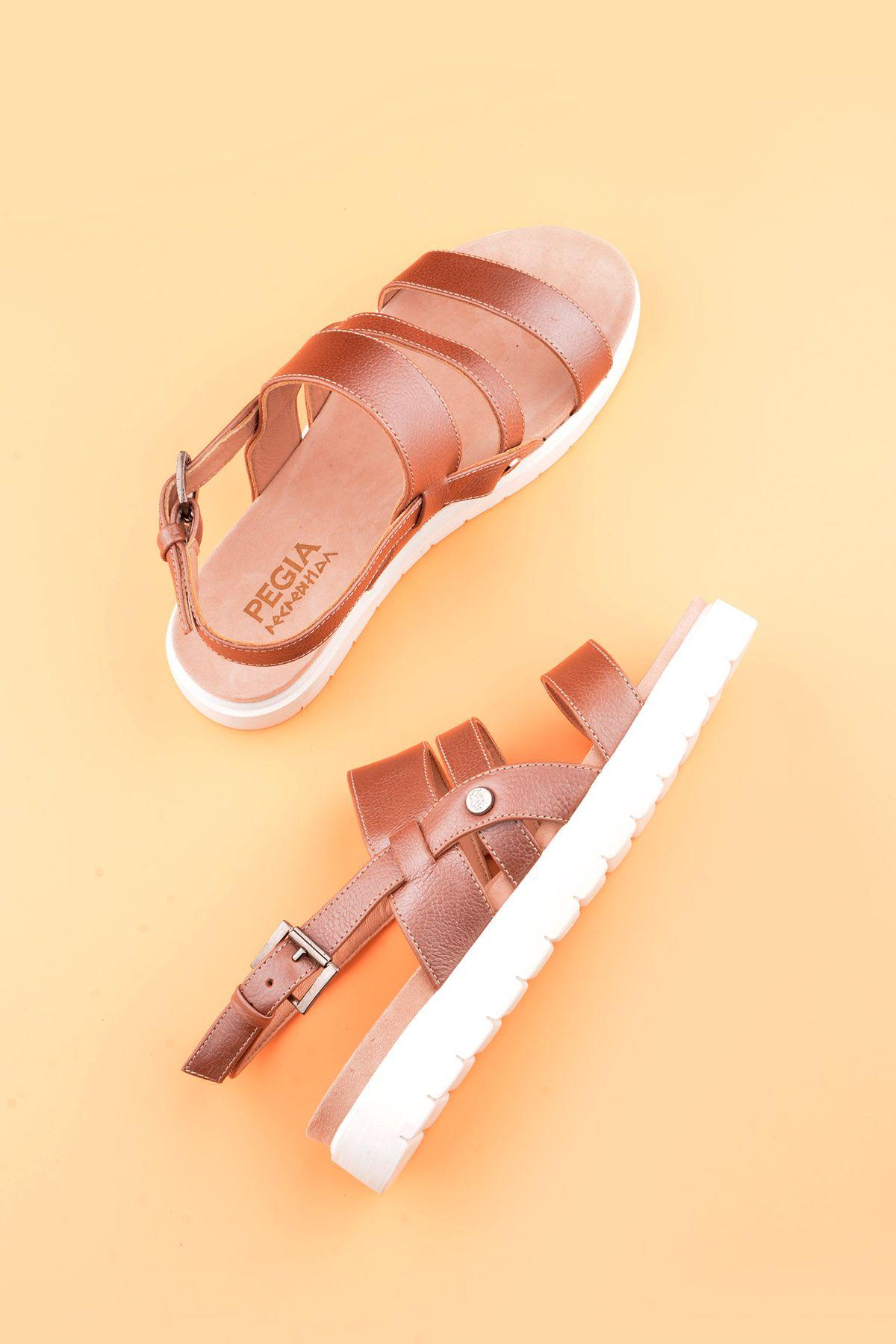 Pegia Gabrielle Hakiki Deri Bayan Sandalet REC-001 Pudra