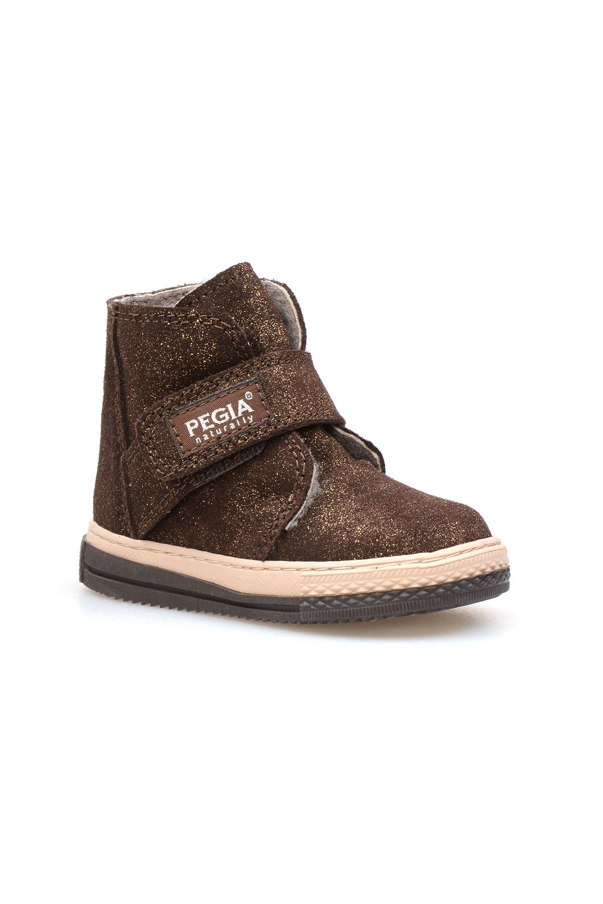 Pegia Genuine Printed Leather Sheepskin Lined Kid's Boots 186017 Brown