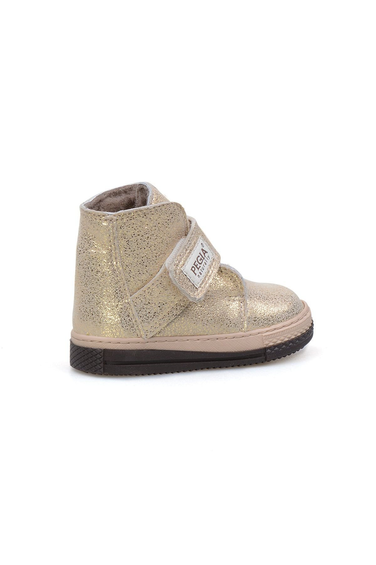 Pegia Genuine Printed Leather Sheepskin Lined Kid's Boots 186018 Golden