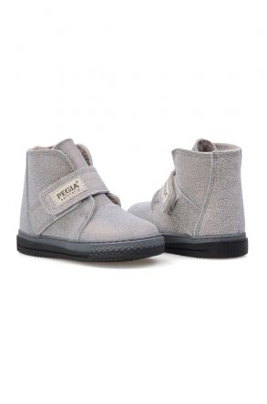 Pegia Genuine Printed Leather Sheepskin Lined Kid's Boots 186018 Gray
