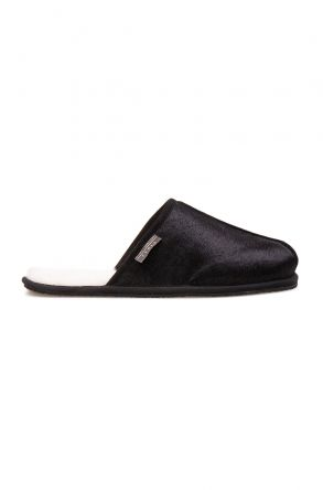 Pegia Genuine Cavallino Leather Men's House Slipper 111015 Black