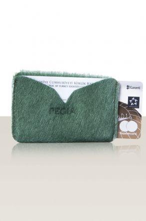 Pegia Hakiki Cavallino Deri Kartlık Cüzdan 19CZ111 Yeşil