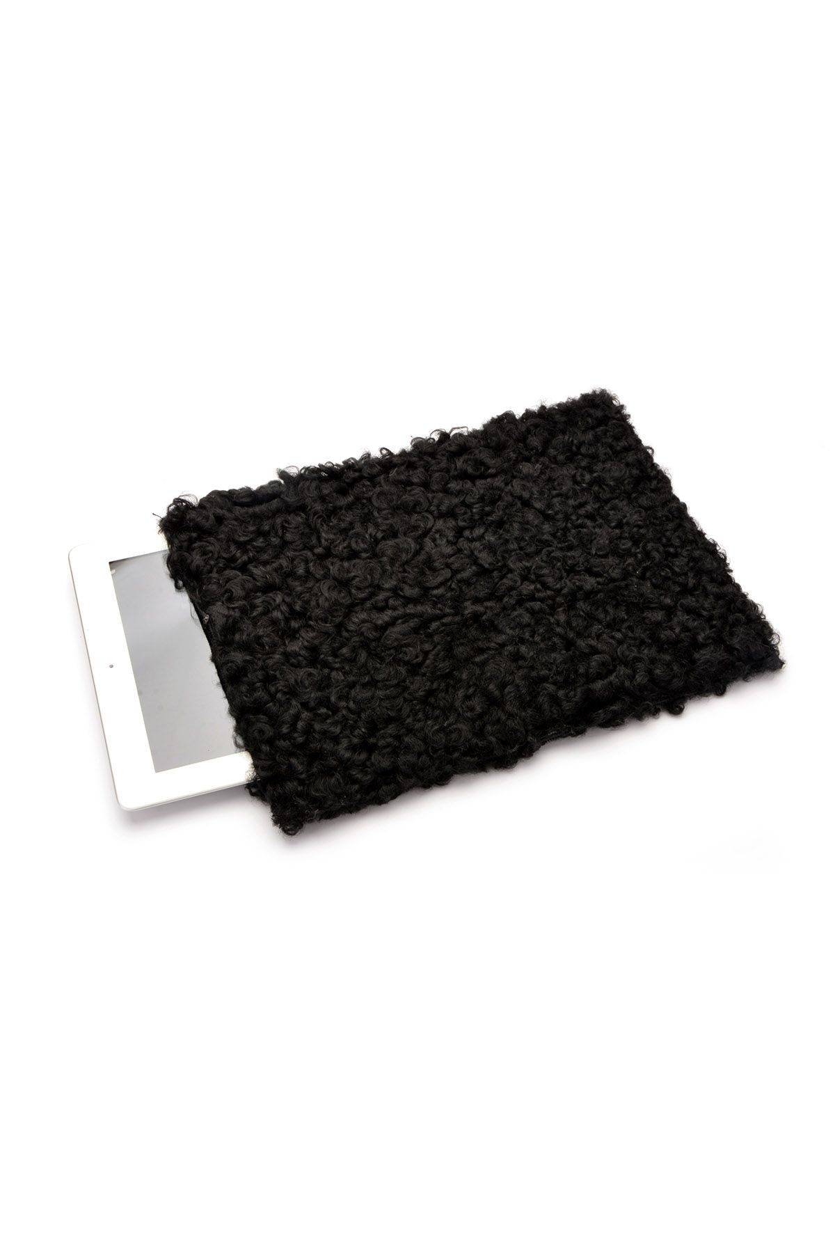 Pegia Hakiki Curly Kürk Tablet Kılıfı 17AU02 Siyah