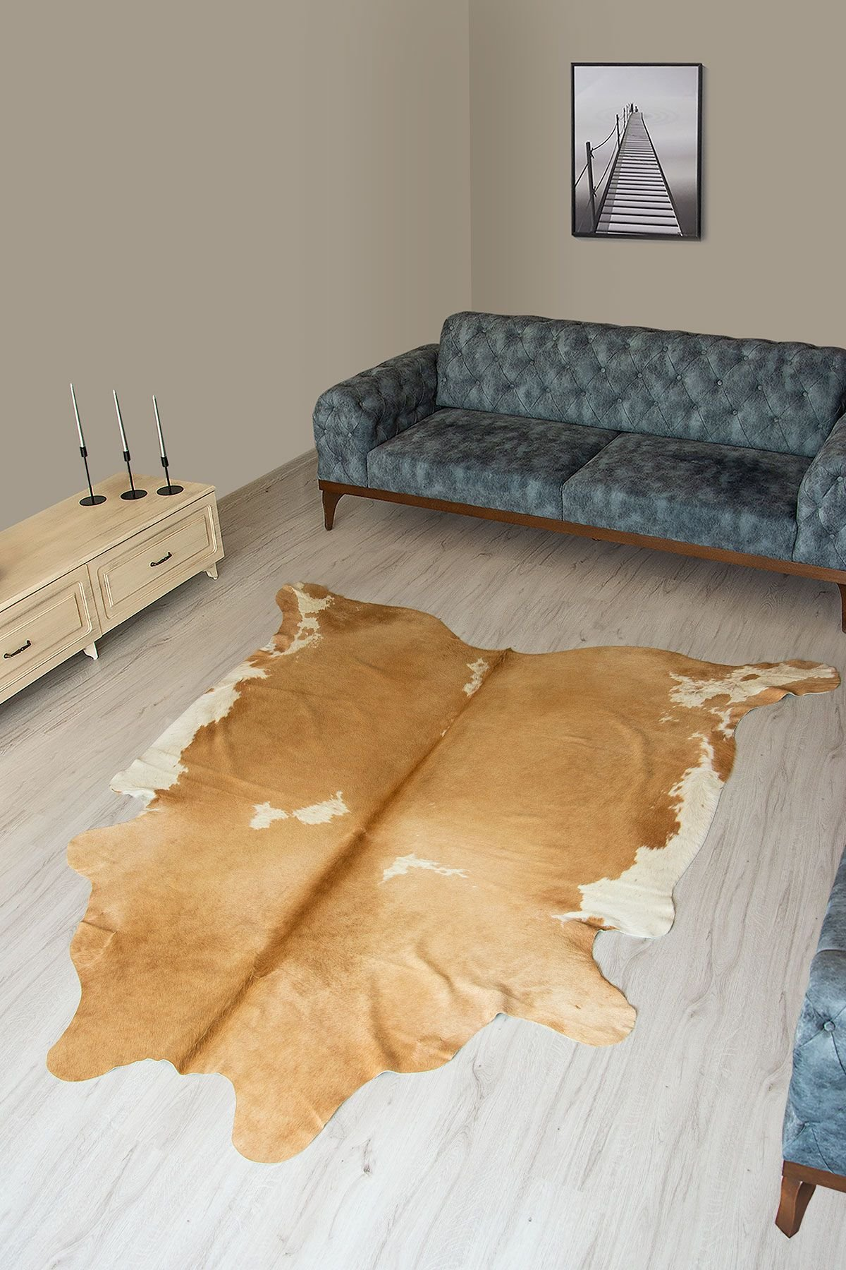 Pegia Genuine Cowhide Leather Carpet FST015 Natural