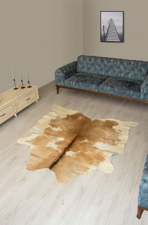 Pegia Genuine Cowhide Leather Carpet FST017 Natural