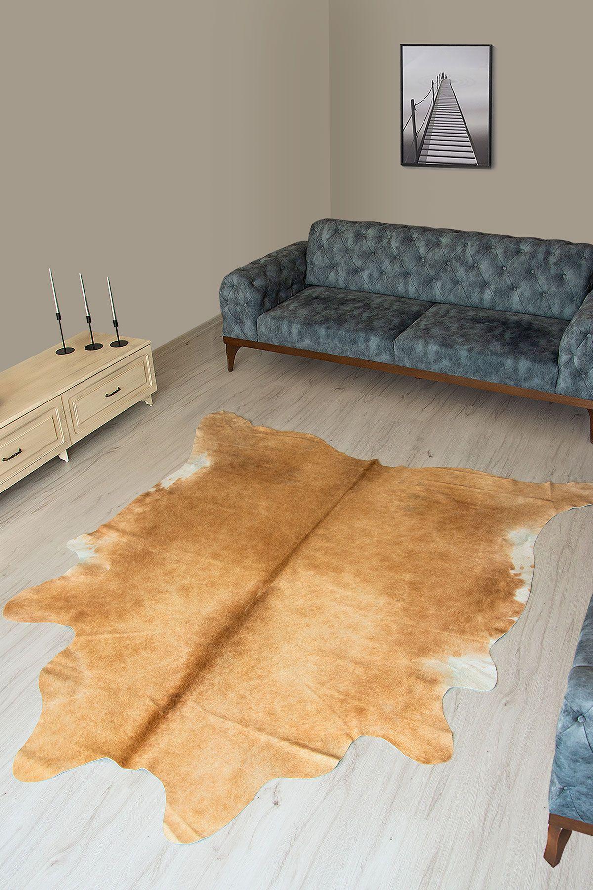 Pegia Genuine Cowhide Leather Carpet FST026 Natural