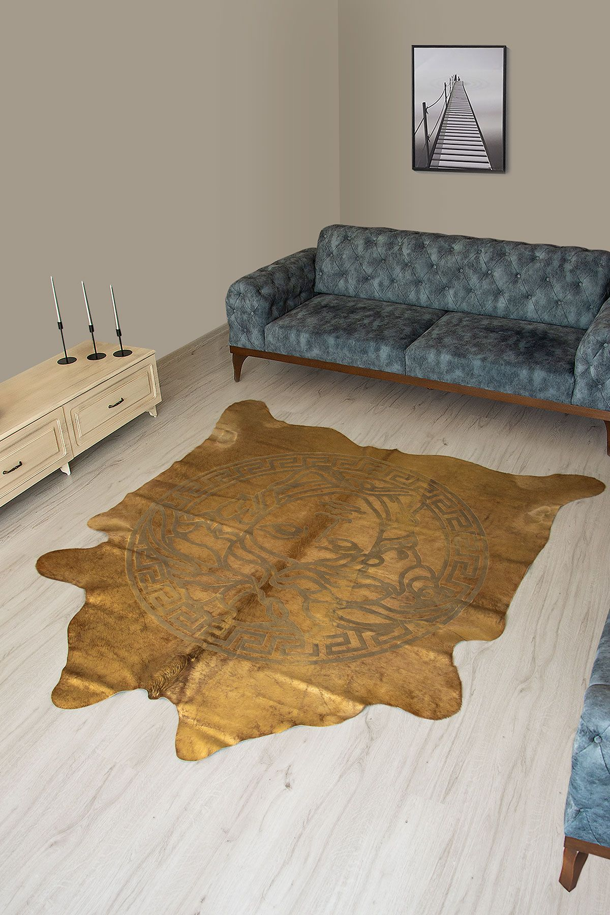 Pegia Genuine Cowhide Leather Carpet FST052 Natural