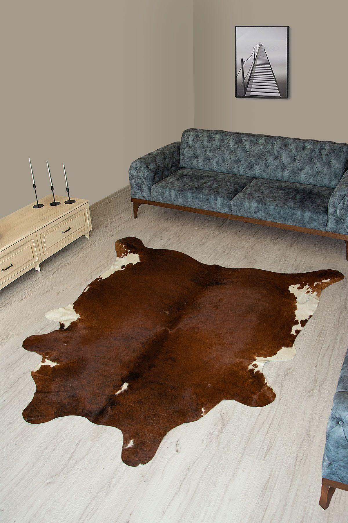 Pegia Genuine Cowhide Leather Carpet FST054 Natural