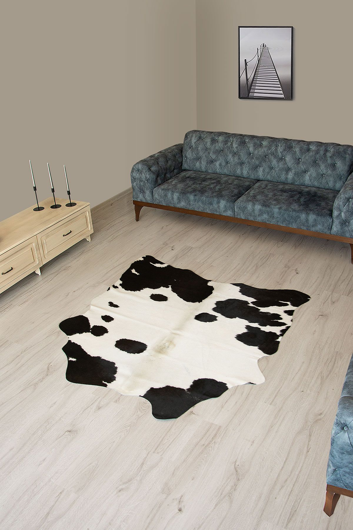 Pegia Genuine Cowhide Leather Carpet FST055 Natural