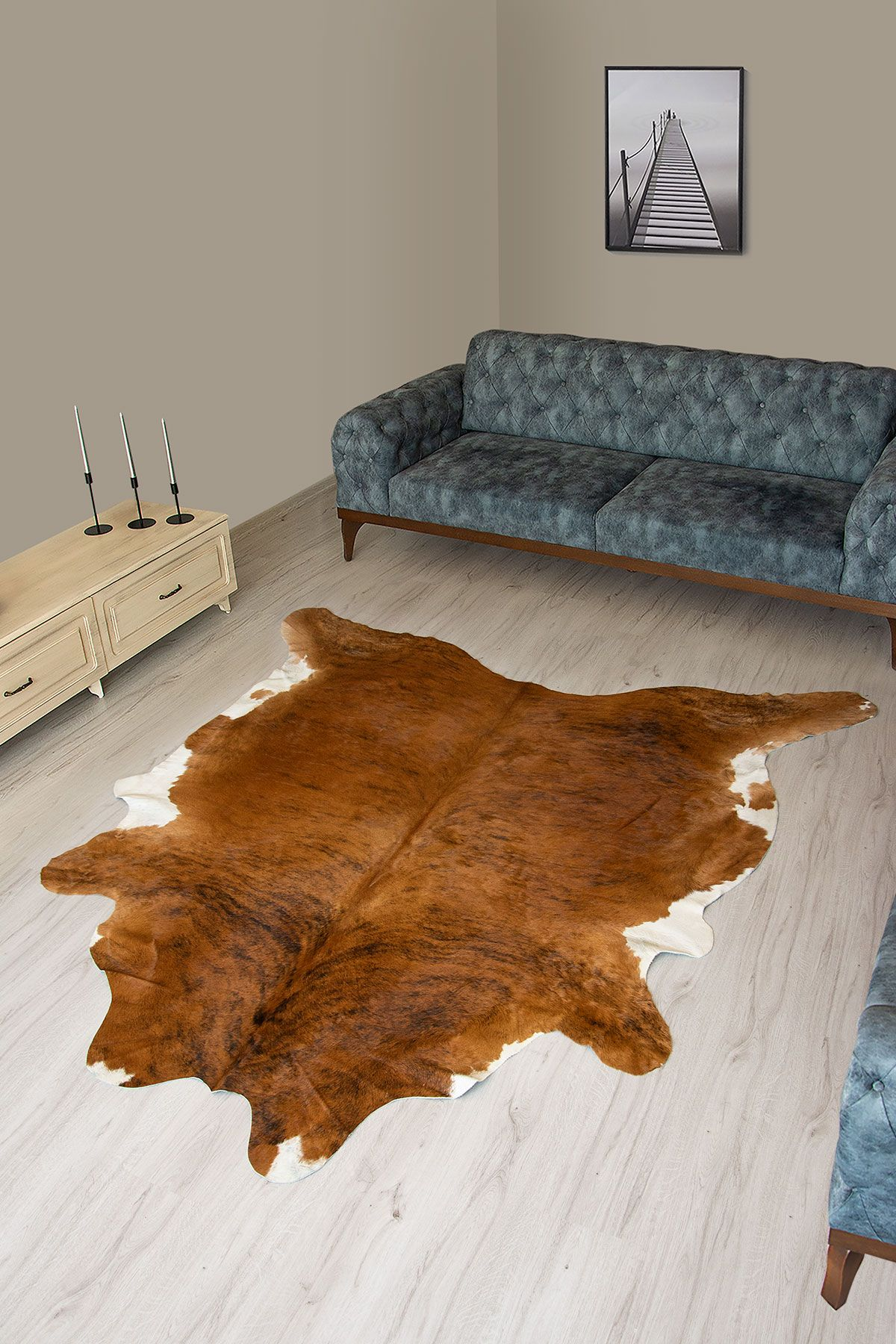 Pegia Genuine Cowhide Leather Carpet FST061 Natural