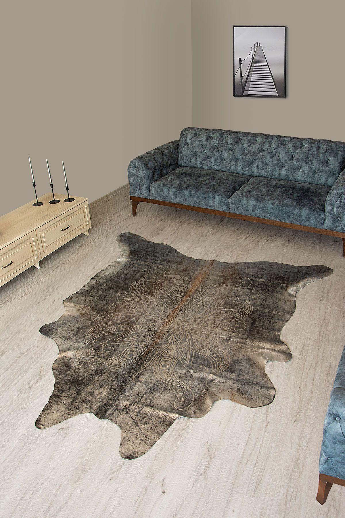 Pegia Genuine Cowhide Leather Carpet FST071 Natural