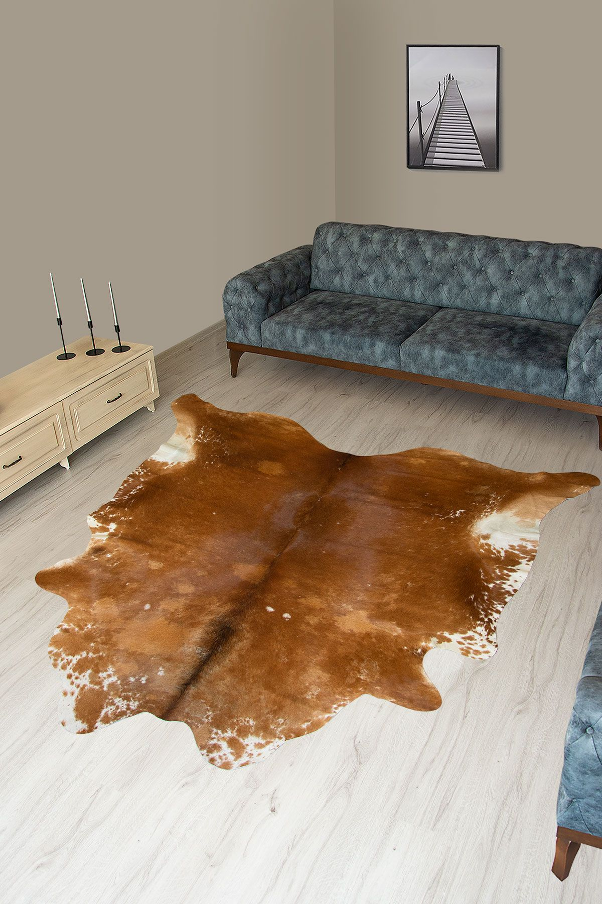 Pegia Genuine Cowhide Leather Carpet FST073 Natural