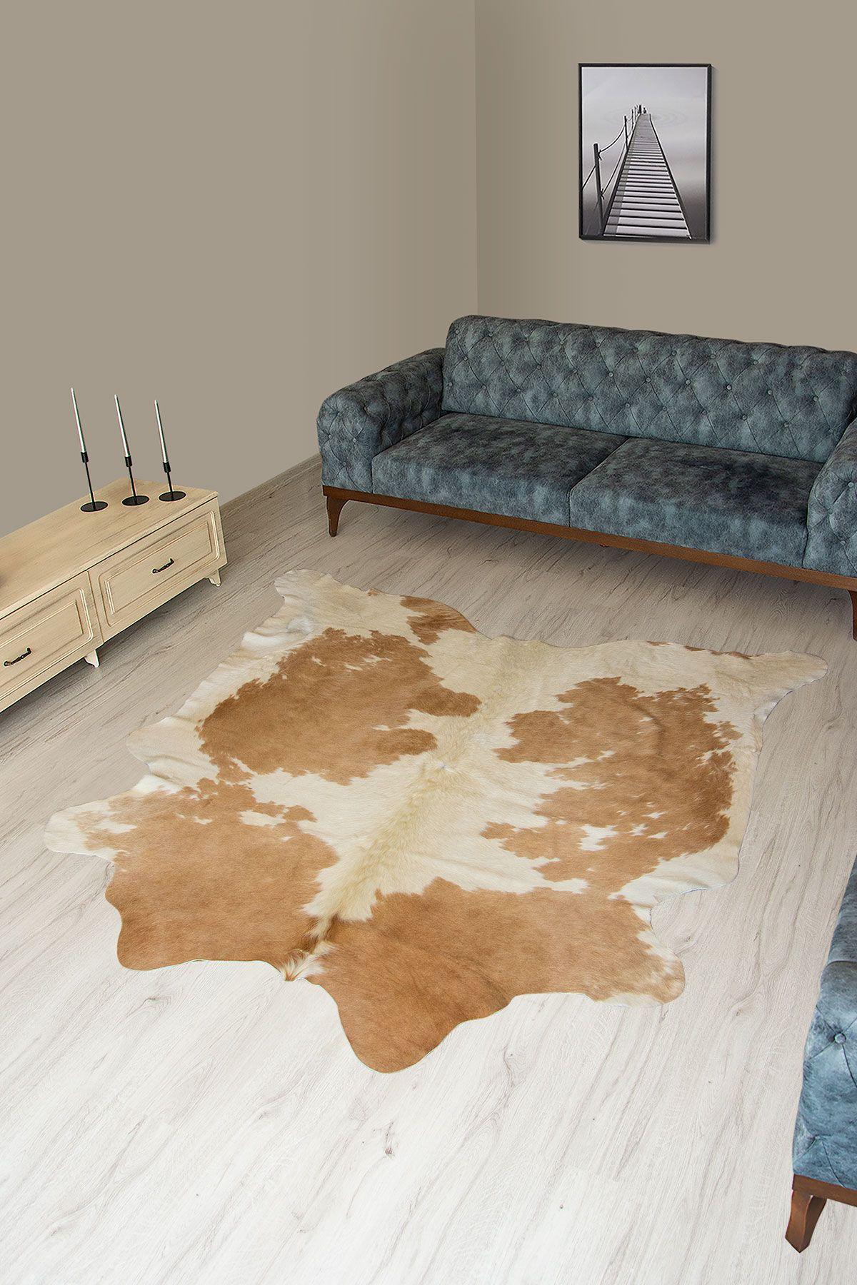 Pegia Genuine Cowhide Leather Carpet FST074 Natural